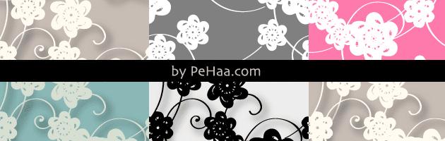 シンプルな花とツタをモチーフにしたPhotoshopパターン | 商用利用も可なフリーの花柄パターン素材