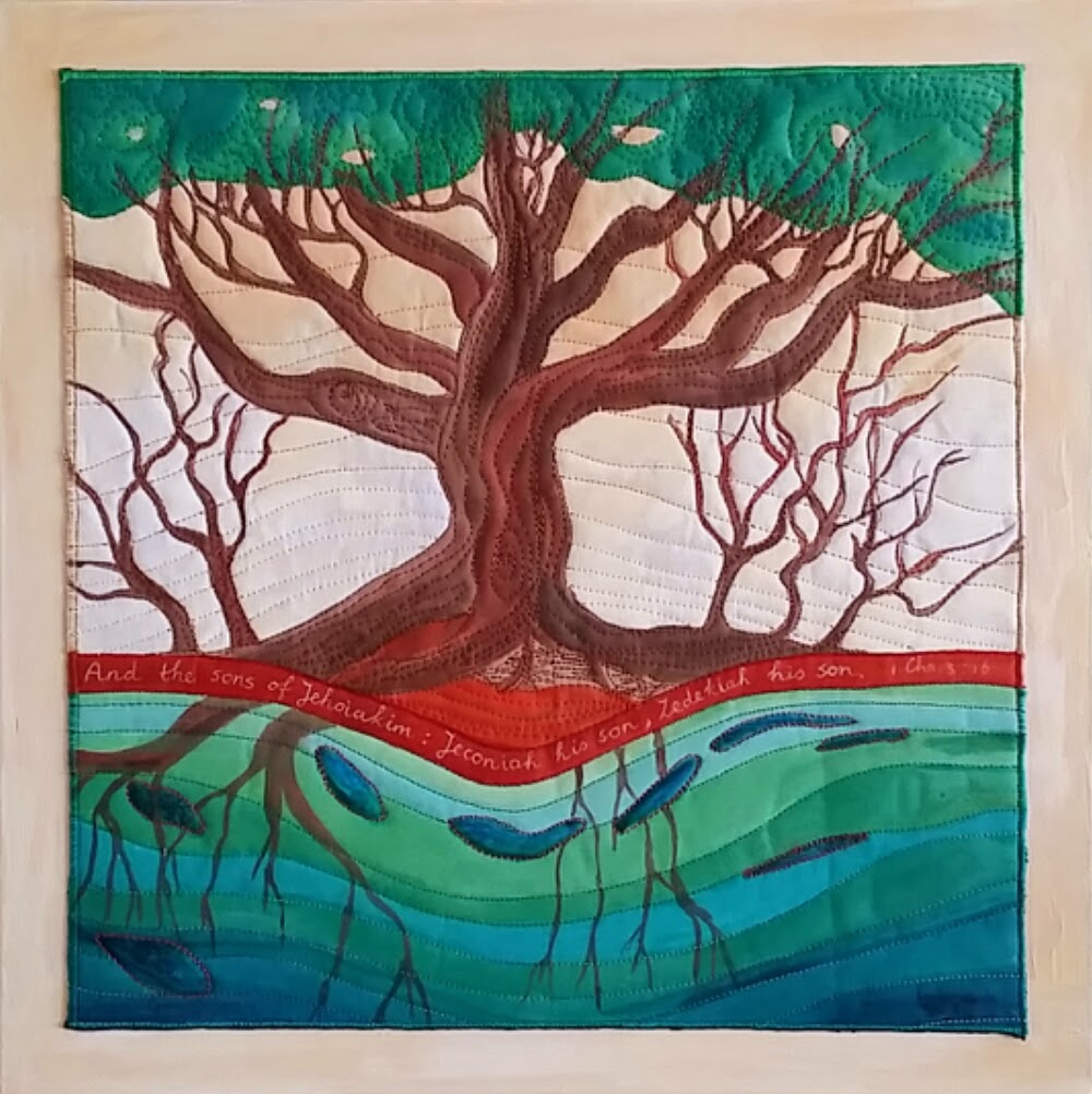 1 Chronicles 3:16 finished. Tree roots, symbolizing David and his sons, continuity of God's work, Hope in living waters