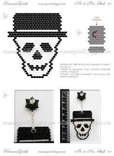 TUTORIAL  Mr. & Mrs. Skull teschi in brick stitch e peyote