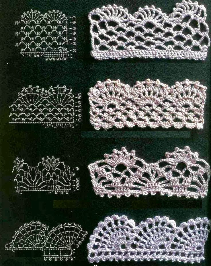 Crochet Lace Pattern For Edging : 5 disenos de puntillas para tejer al crochet Crochet y ...