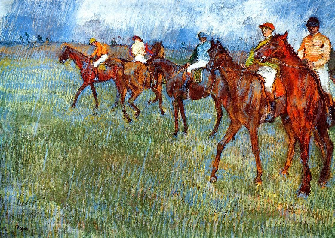 Cavaliers sous la pluie, 1886