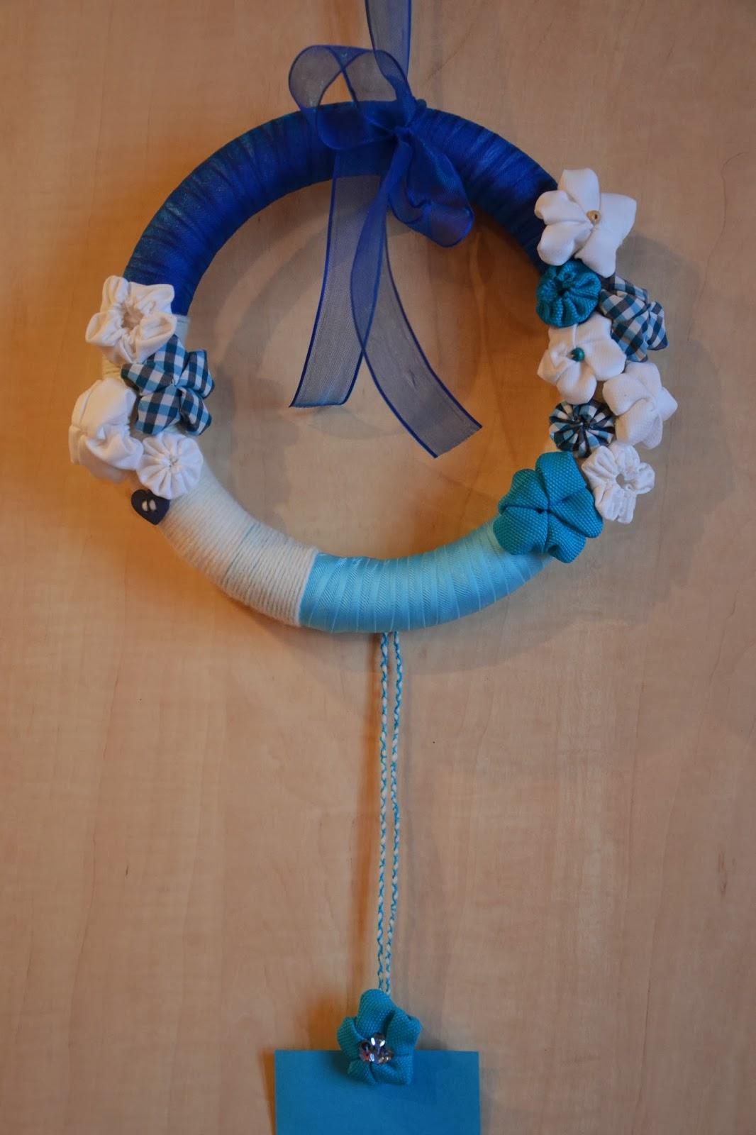 Super Handalicious: Fiocco nascita maschietto con fiori in stoffa HN12