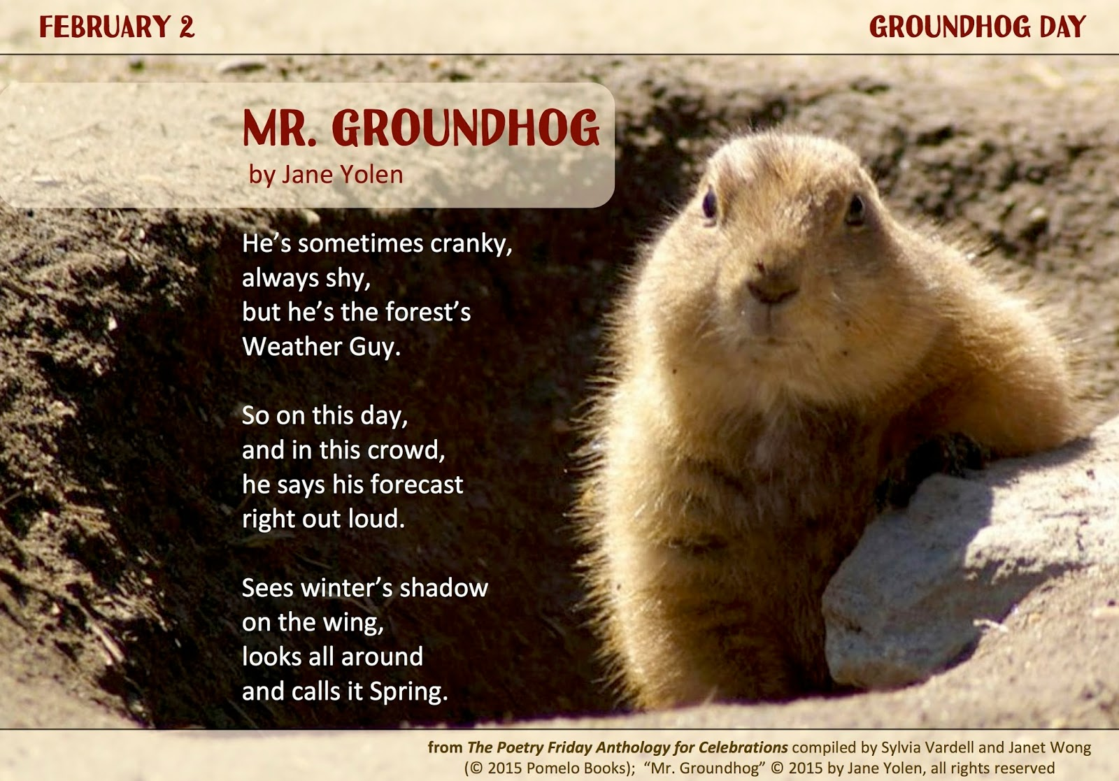 Uncategorized Groundhog Day Stories poetry for children ready spring celebrating groundhog day the lovely talented jane yolen wrote a poem specifically especially our friday celebrations