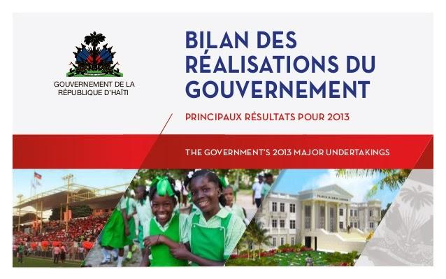 BILAN 2013 DES REALISATIONS DU GOUVERNEMENT HAITIEN KLIKE FOTO A