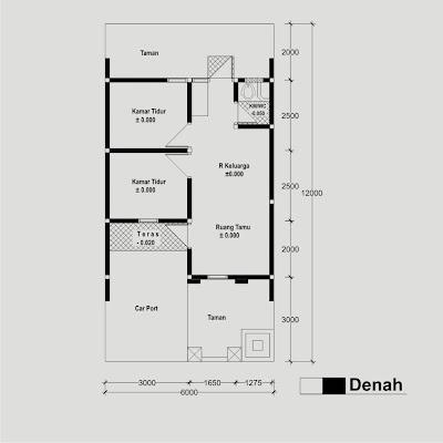 Contoh Sketsa Gambar Bangunan Rumah Type 36,denah rumah sederhana