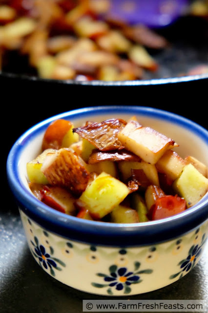 Jujube fruit and King Oyster mushrooms sautéed with a bit of farm share onion in roasted garlic-flavored olive oil and butter. A gourmet date night appetizer at home.