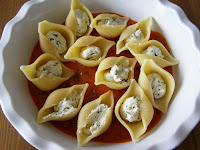 Jumbo Pasta Shells filled with Basil Almond Feta with a Creamy Tomato Sauce