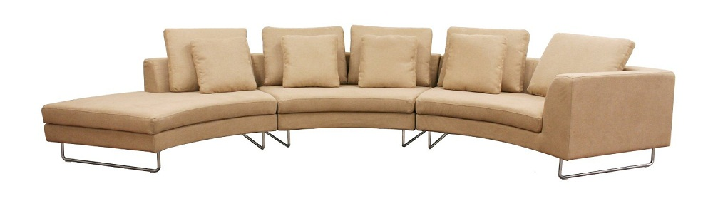 Haram furniture curved 3 piece fabric modern sectional sofa for Curved sectional sofa amazon