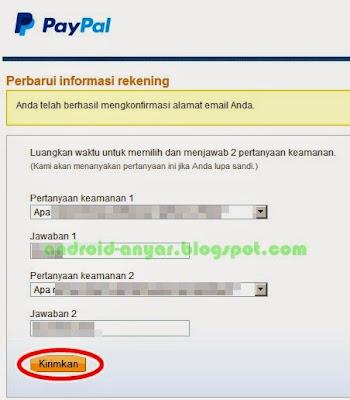 Tips membuat pertanyaan keamanan pada pendaftaran PayPal