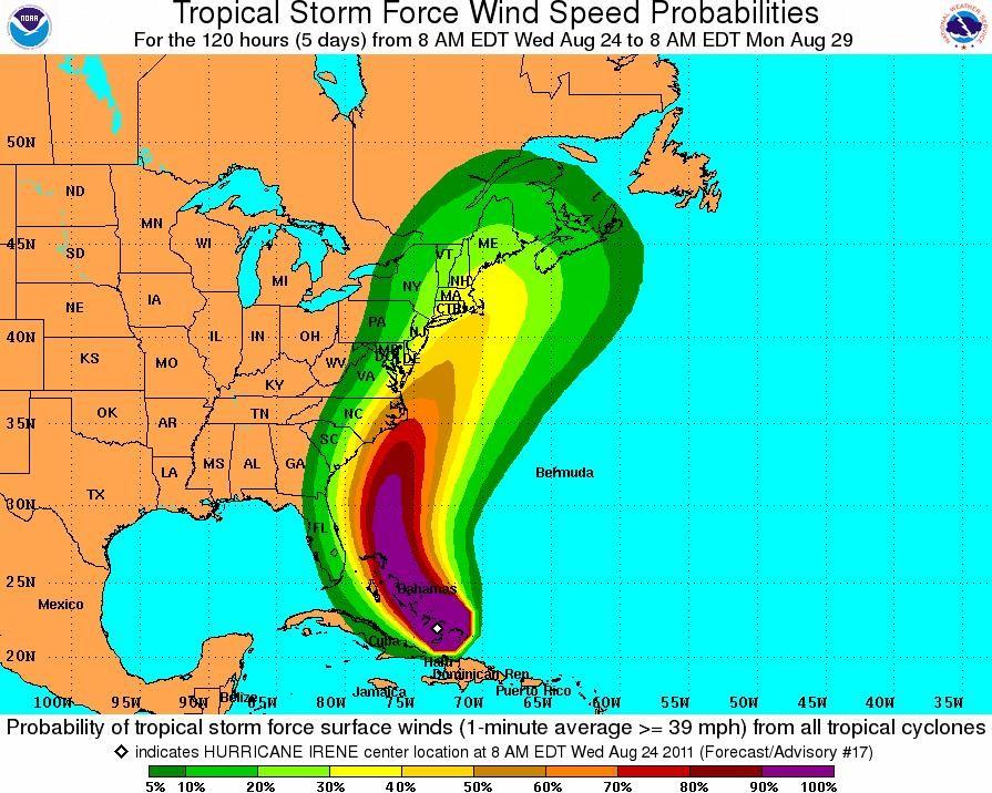 weather channel hurricane irene path