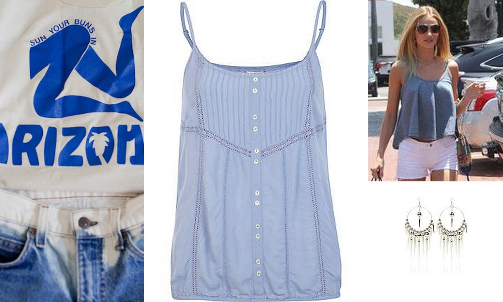 Get Rosie Huntington look, Rosie huntington style, Denim cutoffs, denim top, dangly earrings