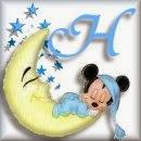 Alfabeto de Mickey Bebé durmiendo en la luna H.