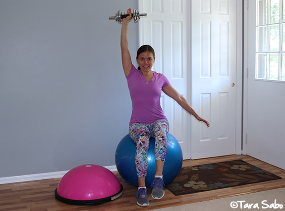 exercise ball, shoulder presses, upper body workout, upper body exercises, BOSU, BOSUSTRONG