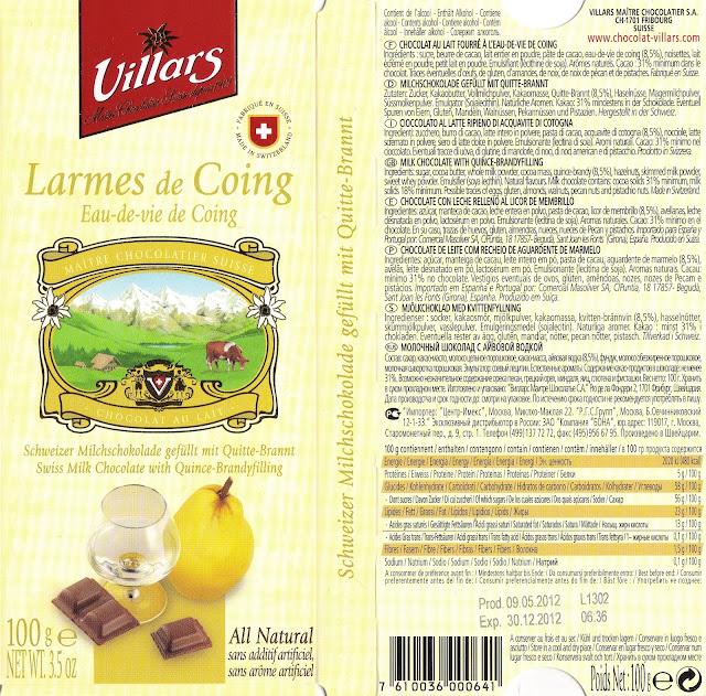 tablette de chocolat lait fourré villars lait larmes de coing