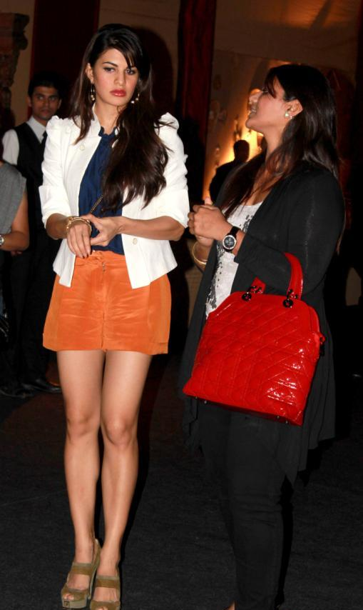 jacqueline fernandez in short orange skirt - Housefull 2 Movie Team At Audi TT Launch