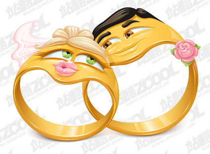 cartoon wedding rings
