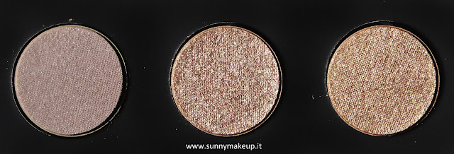 Make Up For Ever - Palette Artist Nude. Palette di ombretti Artist Shadow. Da sinistra verso destra: S - 556, D - 562, ME - 644.