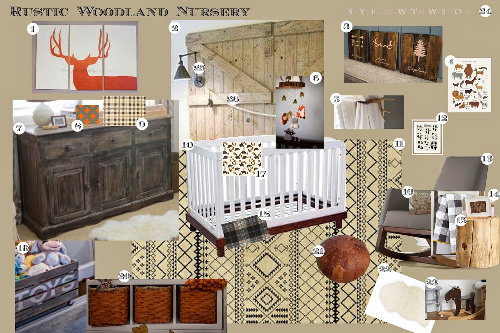 Woodland Nursery Design Inspiration Board