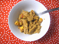 Ginger Nectarine Baked Oatmeal. Fall summer healthy vegetarian breakfast