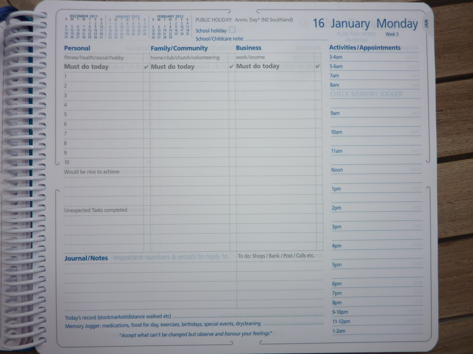 collins home and work diary on each day s page there are task lists for personal family community and business and space for journaling notes there s a space to list errands for