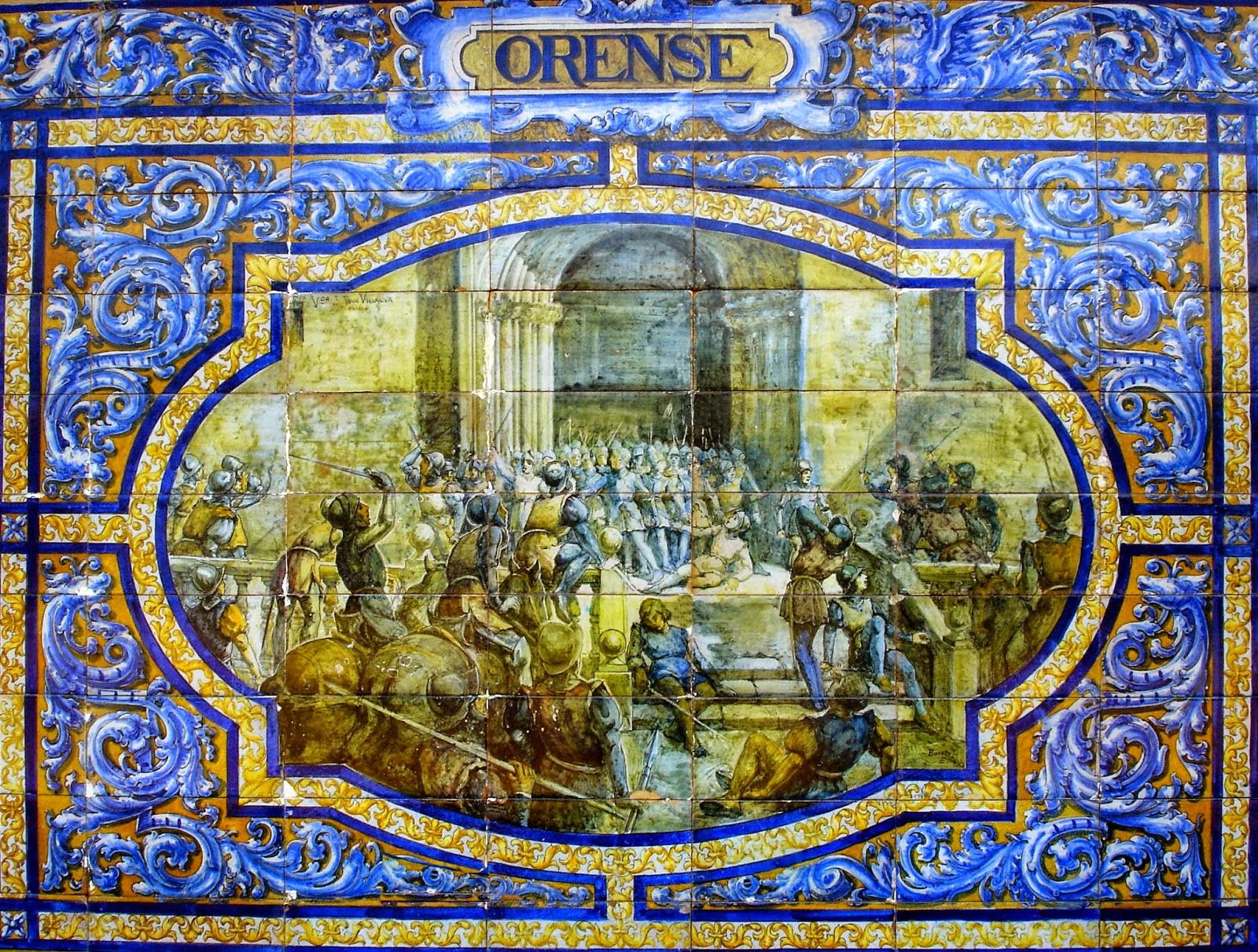 El asedio de Orense pintado sobre azulejos