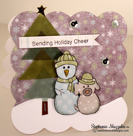 Snowman and Snow dog Christmas card by Stephanie Muzzulin for Newton's Nook Designs - Flaky Family Snowman Stamp Set