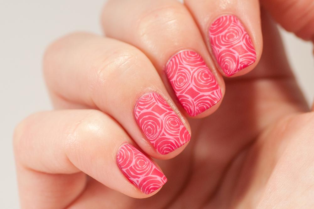 Pink roses nail art - May contain traces of polish