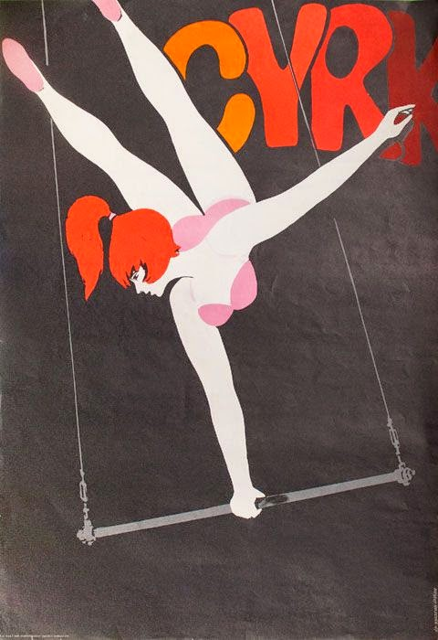 woman doing a one arm stand on a circus trapeze illustration by Hubert Hilscher