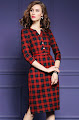 New 2016 Three Quarter Sleeve Black Checkered Red OL Dress