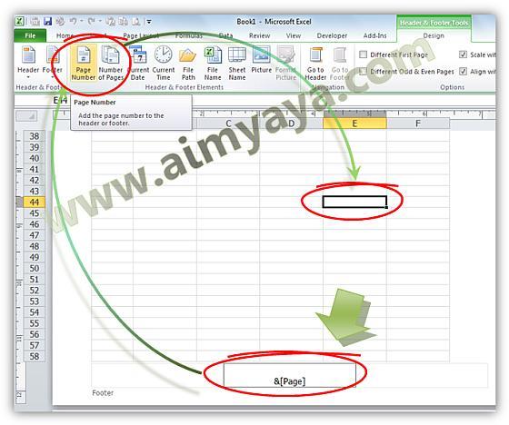 Gambar: Cara memberikan nomor halaman (dan jumlah halaman cetak) di microsoft excel 2010