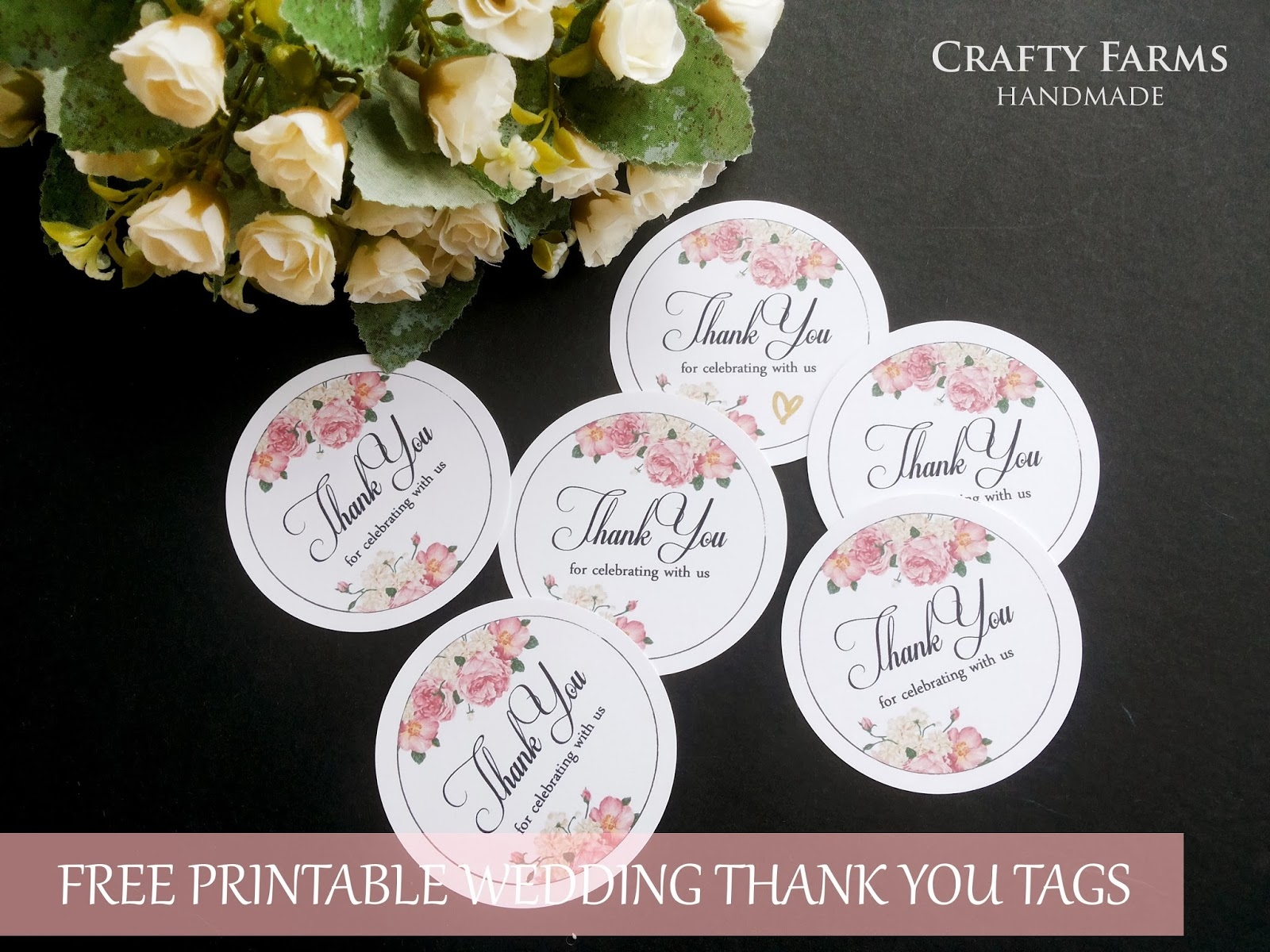 FREEBIE TIME: Wedding Thank You Tag Printable | Pink Peonies Floral ...