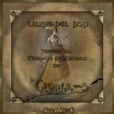 Gloria S. Premio al trabajo destacado Luzes 29/07/2012