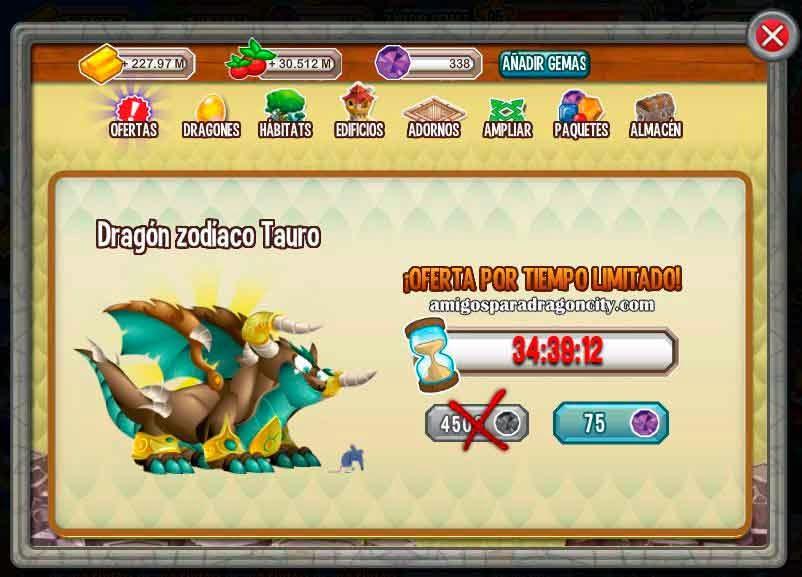 imagen del dragon zodiaco tauro x 75 gemas