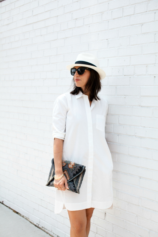 panama hat, white dress, shirt dress
