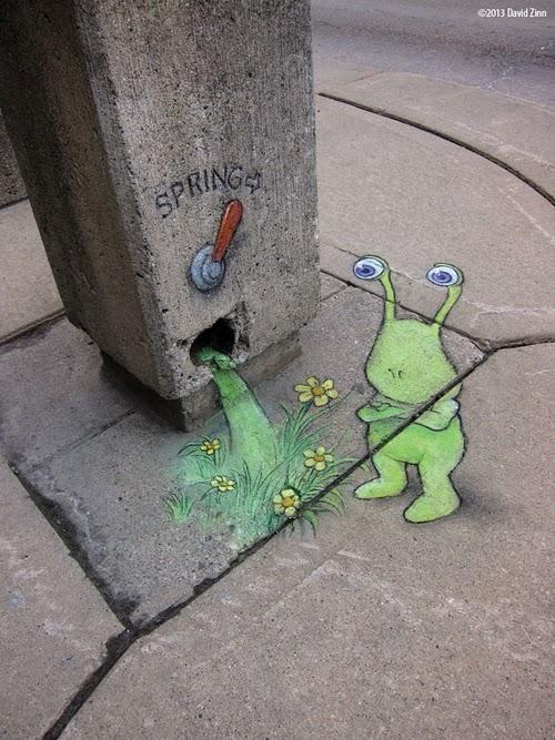 13-Springlever-Sluggo-Artist-David-Zinn-Chalk-Street-Art-www-designstack-co
