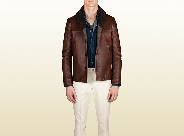 GUCCI - leather Shearling collar jacket ( Brown Leather ), would make one hell of a Cafe Racer Jacket ,Itss got cool vintage looks