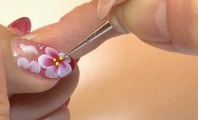 Floral folk nail arts