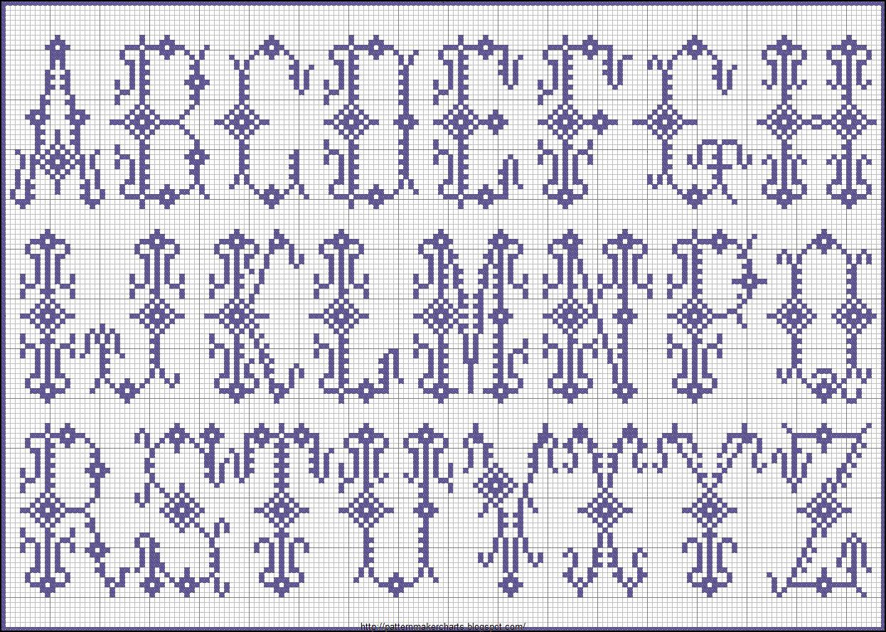 Вязаный алфавит крючком. Схемы для вязания 19
