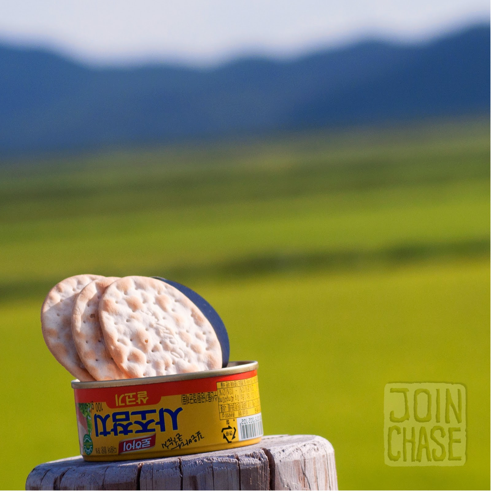 A can of tuna and crackers with a backdrop of rice paddies and mountains in South Korea.