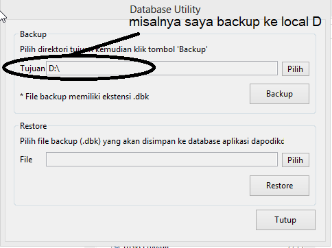 Tunggu sampai ini muncul bahwa database berhasil disimpan,kemudian ...
