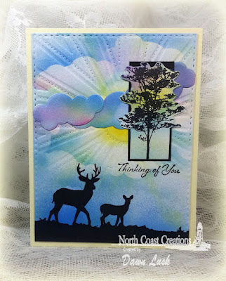 North Coast Creations Stamp sets: Deer Silhouette Greetings, ODBD Custom Dies: Sunburst Background, Clouds and Raindrops