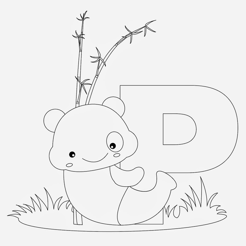 Printable Coloring pages for letter P , Examples are Panda ,Penguin  title=