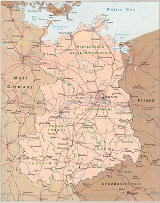 Old East Germany Map showing roads and highways