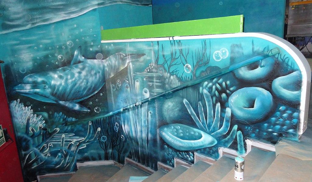 Berok graffiti mural profesional en barcelona bora bora sabadell - Decoracion acuario marino ...