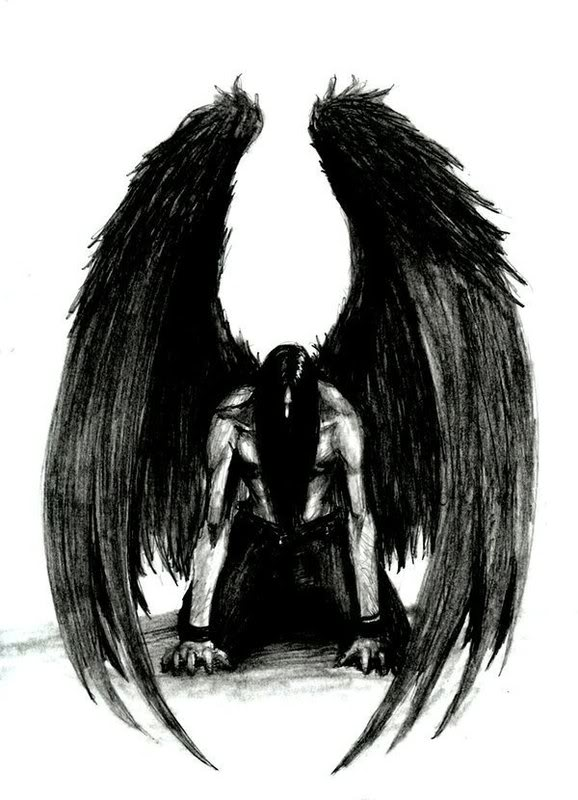 Black Angel Wings Drawing