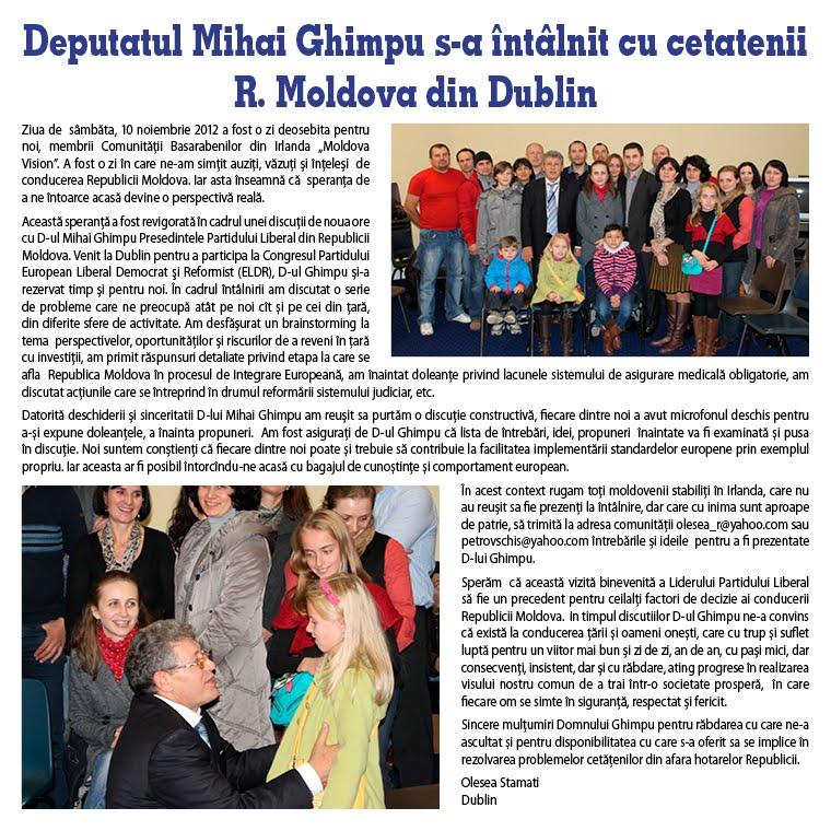 Deputatul Mihai Ghimpu s-a întâlnit cu cetatenii R. Moldova din Dublin