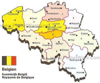 Mapa da Bélgica Política Regional