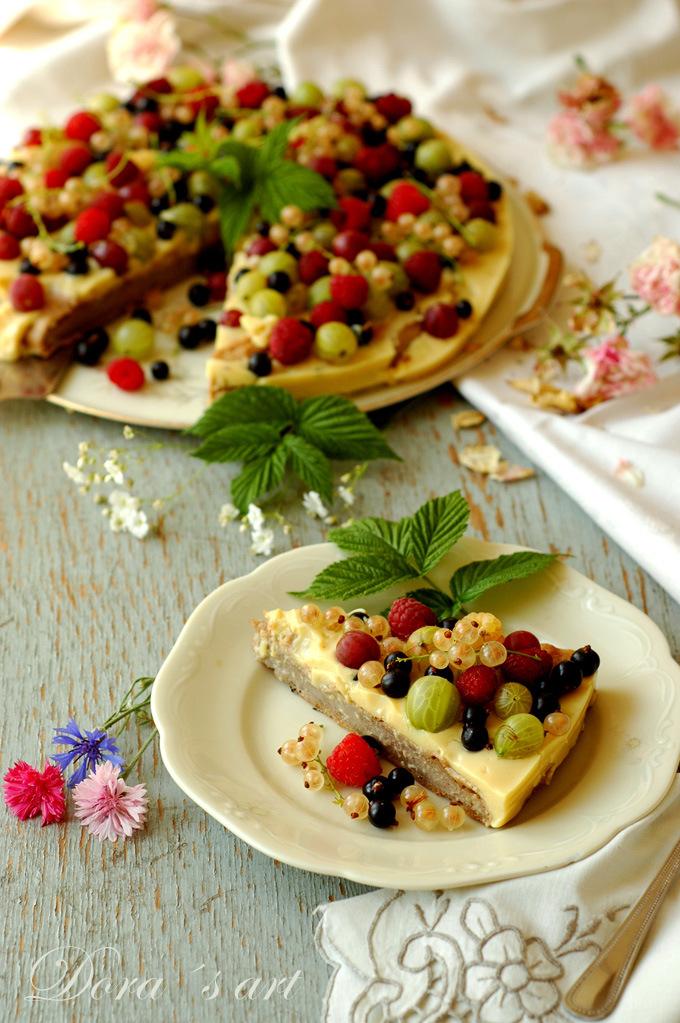 Svieža letná tortička s drobným ovocím (bezlepková, vegan, takmer bez cukru)