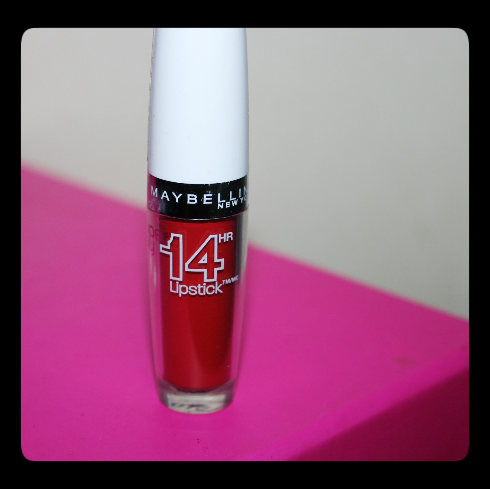 michelaismyname maybelline 14hr lipstick non stop red