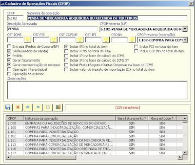 NeXT ERP 1.5.4 tributação CFOP